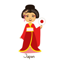 girl in japan country national clothes wearing vector image vector image