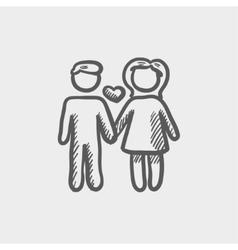 Loving couple sketch icon vector image
