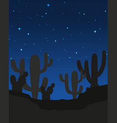 Scene with cactus at night vector