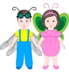 Two children wearing Halloween costumes vector image vector image