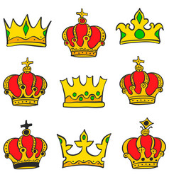 collection crown glamour style doodle set vector image