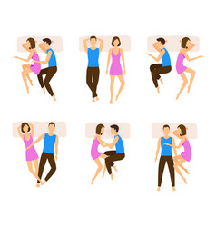 different sleeping poses couple set vector image