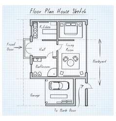 Floor plan house sketch vector image