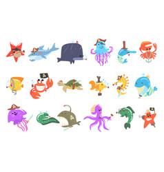 marine animals and underwater wildlife with pirate vector image vector image