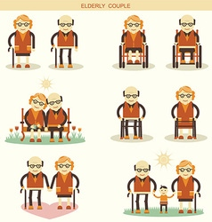 Old people life icons isolated vector image