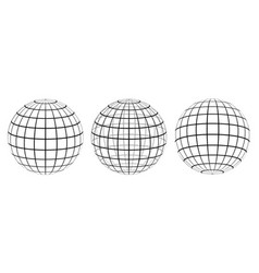 set graticule 3d globe meridian and parallel vector image vector image