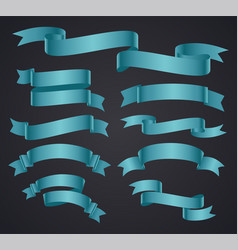 set of blue curved ribbon or banner vector image