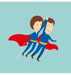 Superheroes business woman and businessman flying vector image