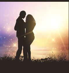 valentines couple in grassy sunset landscape vector image vector image