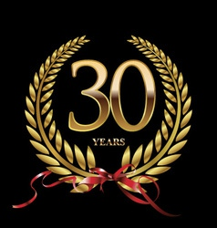 30 years anniversary laurel wreath vector