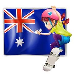 A girl skateboarding in front of the Australian vector
