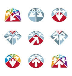 Abstract unusual icons set creative symbols vector