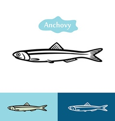 Anchovy silhouette logo vector image
