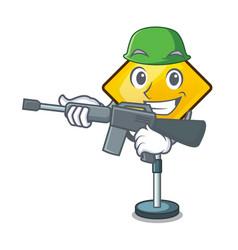 Army harm warning sign shaped on cartoon vector