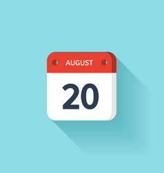 August 20 Isometric Calendar Icon With Shadow vector image