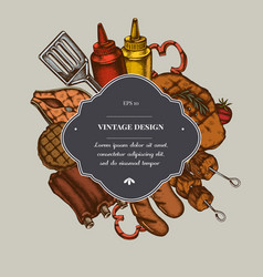 Badge over design with spatula pork ribs kebab vector