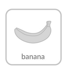 banana icon gray outline flat sign isolated vector image