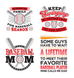baseball quote and saying set vector image