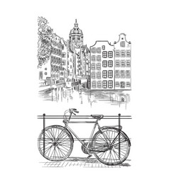 Bike in amsterdam vector