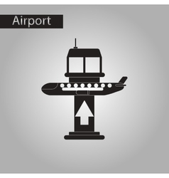 black and white style icon plane takeoff airport vector image