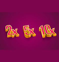 bonus 2x 5x 10x prize winner big jackpot game vector image