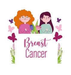 breast cancer cartoon women with butterflies vector image