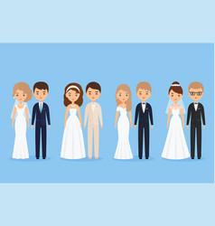 Bride and groom cartoon characters vector