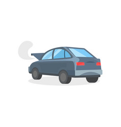 broken motor car with open hood automobile with vector image