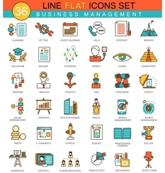 Business management flat line icon set vector image