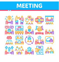 Business meeting conference icons set vector