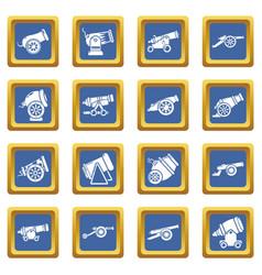 Cannon retro icons set blue square vector