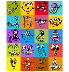 Cartoon monster fantasy character set vector