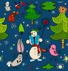 christmas childish seamless pattern background vector image