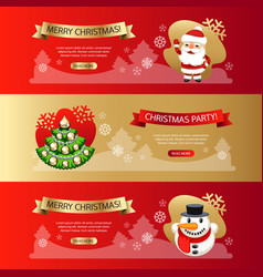 christmas horizontal banners set red and gold vector image
