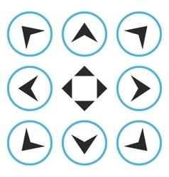 Circled Arrowheads Flat Icon Set vector