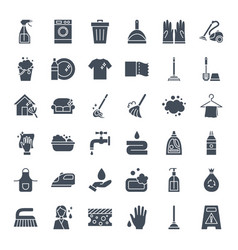 Cleaning solid web icons vector