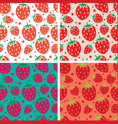 collection of seamless repeating strawberry vector image