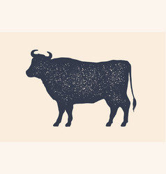 Cow silhouette vintage logo retro print poster vector