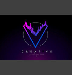 Creative v letter logo idea with pine forest vector