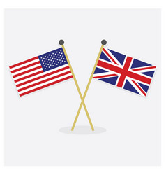 Crossed usa and great britain flags vector
