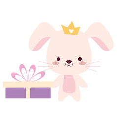 Cute and little rabbit with gift vector
