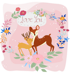 cute baby deer and mom in the flower frame vector image