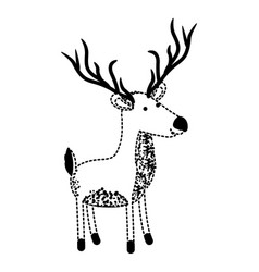 Deer cartoon with long horns in black dotted vector