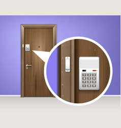 door alarm system realistic composition vector image