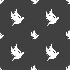 Dove icon sign Seamless pattern on a gray vector image