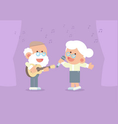 elderly couple singing with guitar vector image