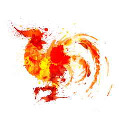Fire rooster made of colorful grunge splashes vector