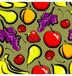 Food background with fruit seamless pattern vector