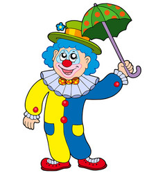 funny clown holding umbrella vector image