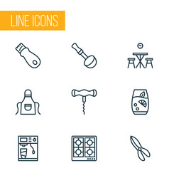 gastronomy icons line style set with corkscrew vector image